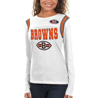 0b4d49903 Cleveland Browns Womens Baby Jersey Crew Long Sleeve T-Shirt - White ...
