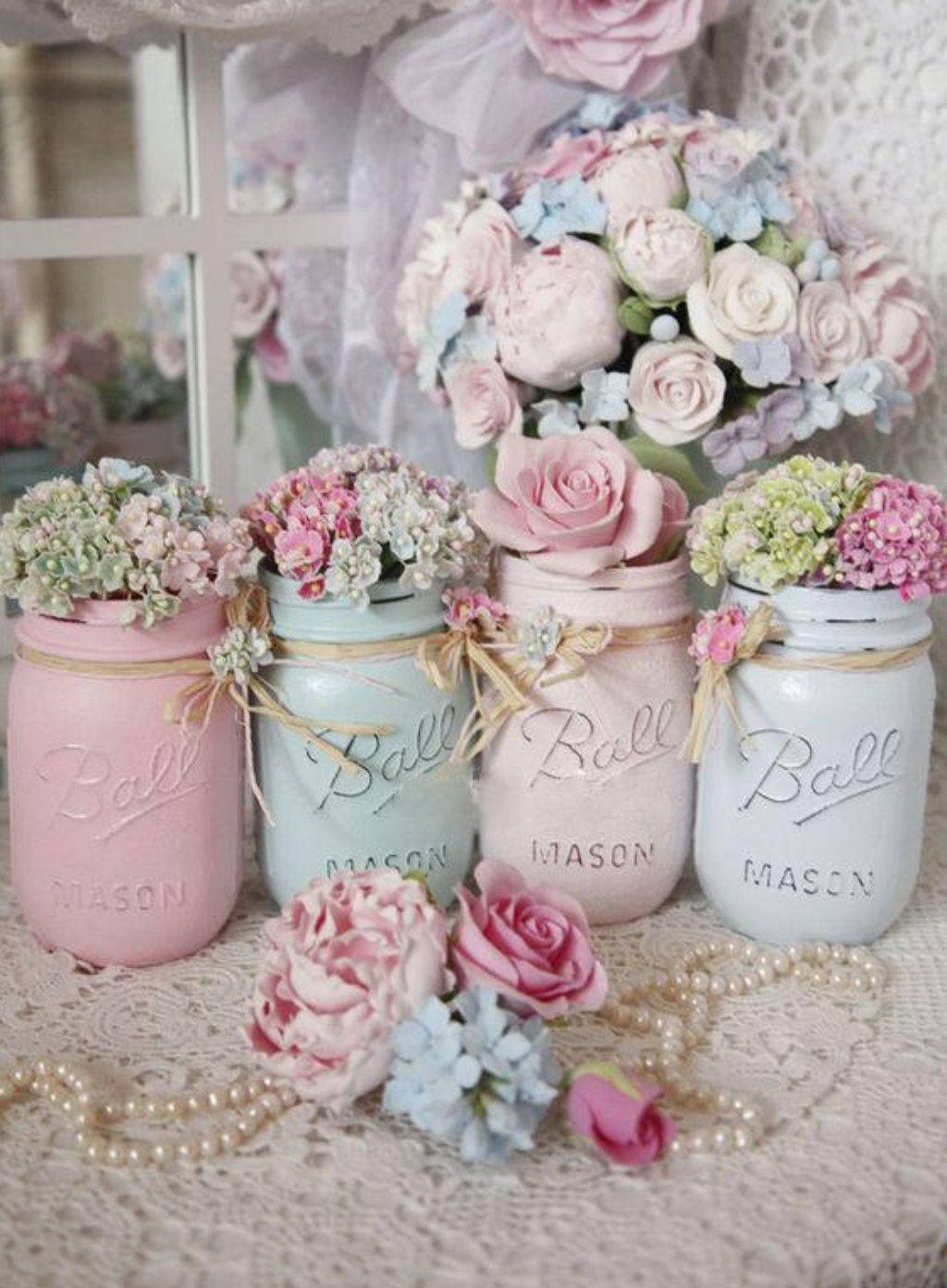 Wedding dress centerpiece  Shabby Chic Painted Mason Jar Centerpiece Decor Vase Wedding Bridal