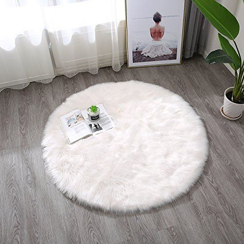Townssilk White Faux Sheepskin Fur Fluffy Area Rug Chair