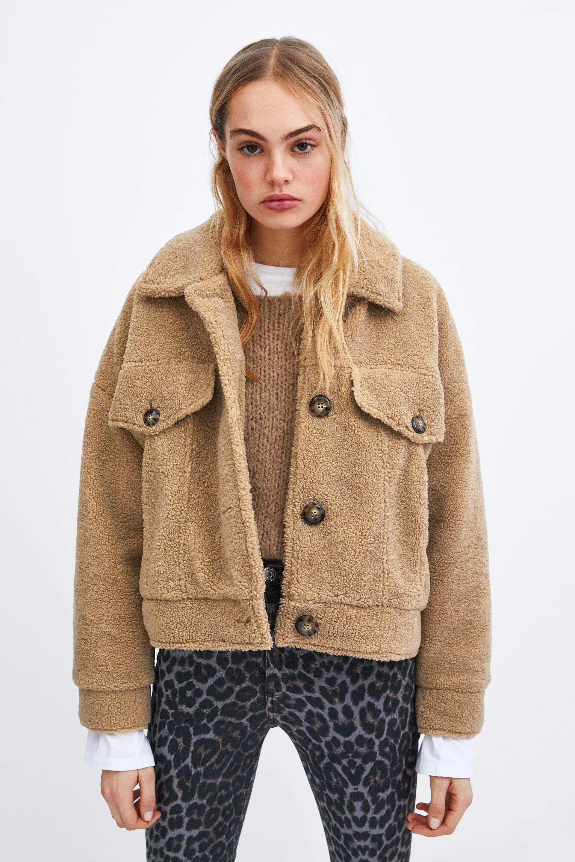 Short faux shearling jacket in 2020 Faux shearling
