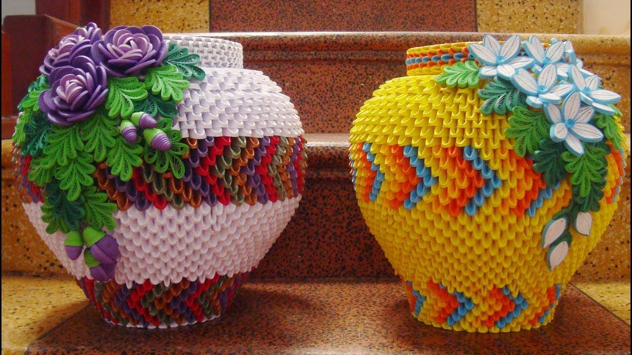 How to make 3d origami flower vase v6 cmo hacer florero de papel how to make 3d origami flower vase v6 cmo hacer florero de papel mightylinksfo