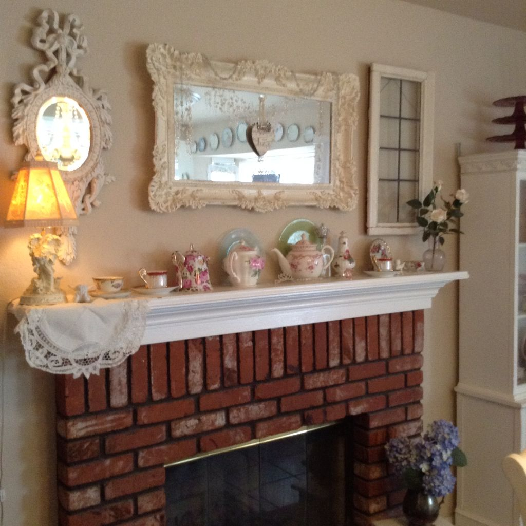Window mirror decor  mantel decor for shabby chic  old window and mirror  land of