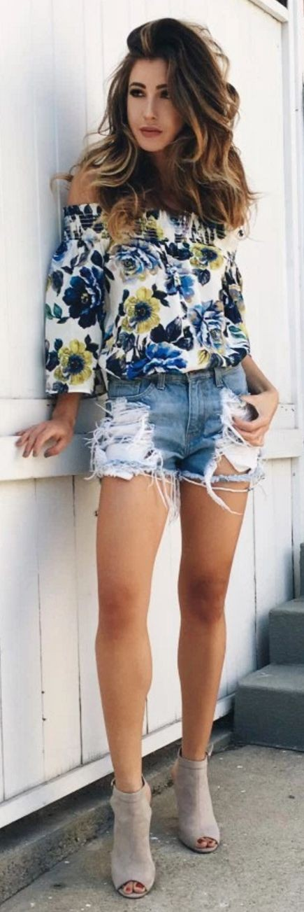 #summer #trending #outfits |  Floral Off The Shoulder Top + Cutoffs