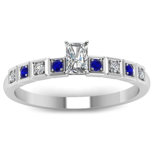 Fascinating Diamonds 14K Gold Radiant-cut Diamond and Blue Sapphire Engagement Ring, Women's
