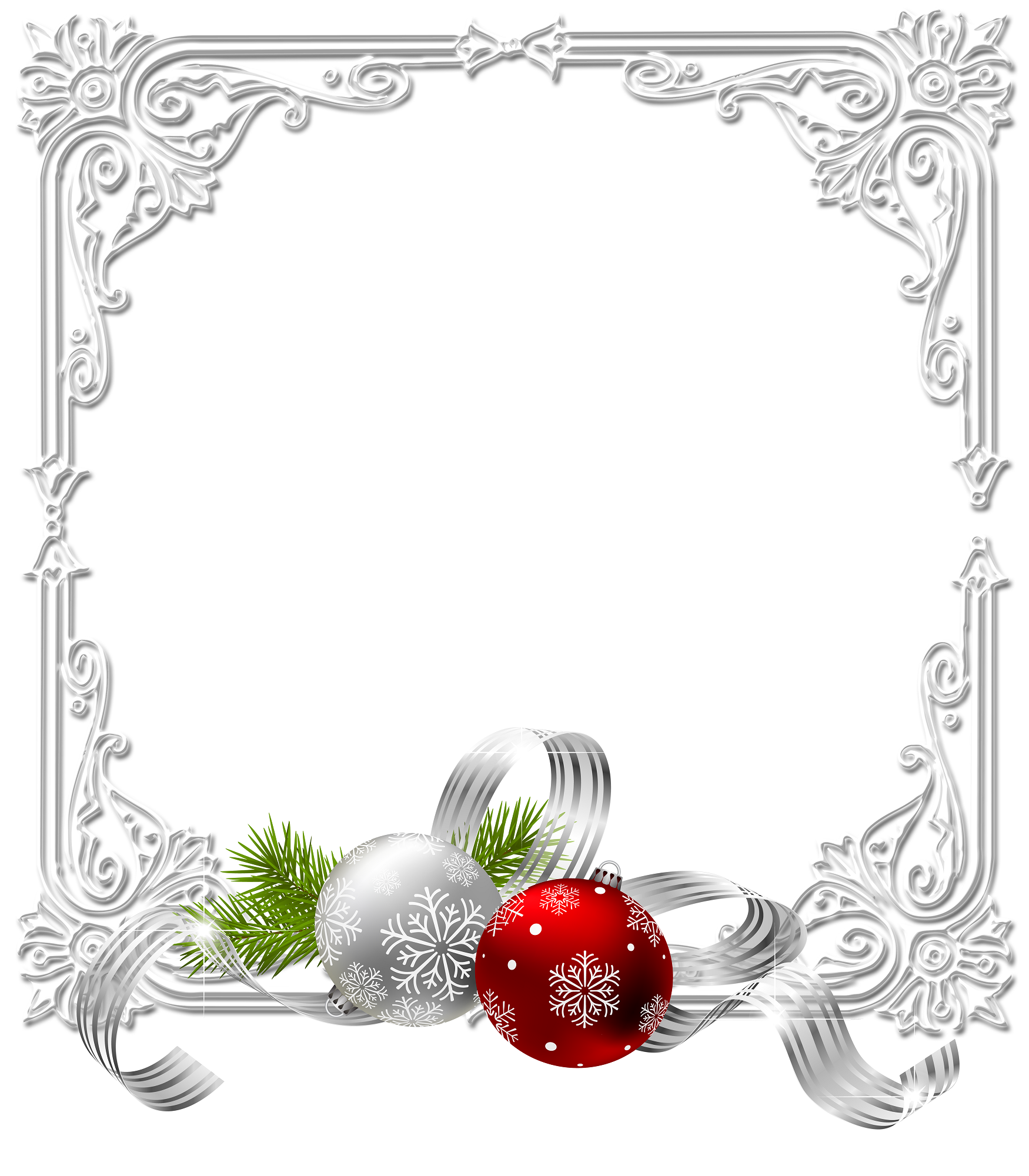 silver christmas frame with bulbs