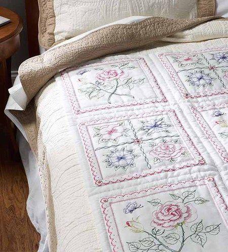 Floral Quilt Blocks Stamped Cross Stitch Kit Quilt