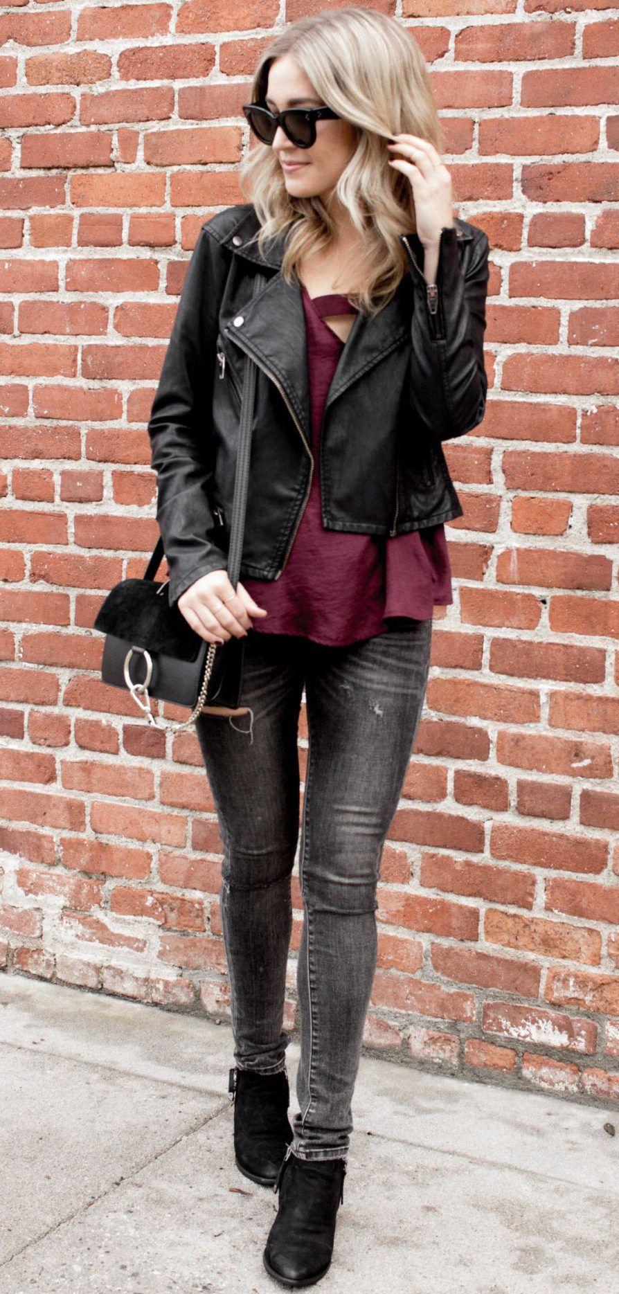 Black Moto Jacket + Burgundy Silk Tank Top