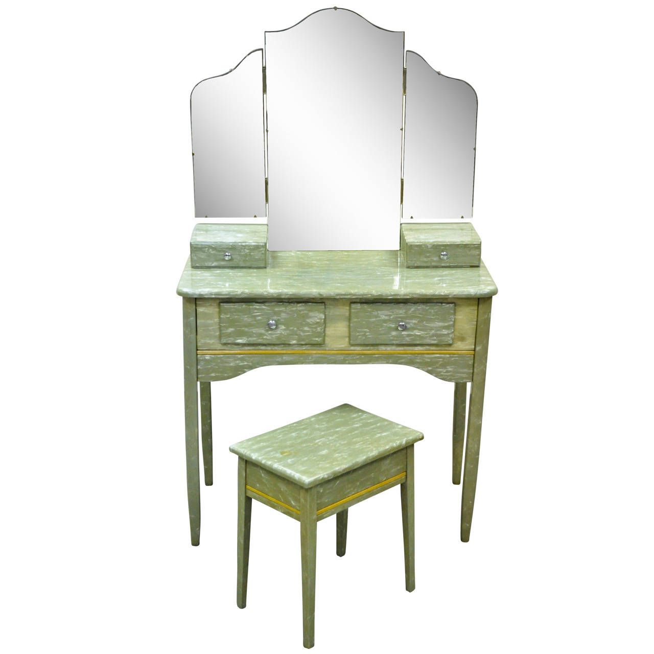 Rare Art Deco Green Celluloid Covered Vanity With Tri Fold Mirror And Bench 1stdibs Com Art Deco Dressing Table Furniture Mid Century Modern Furniture