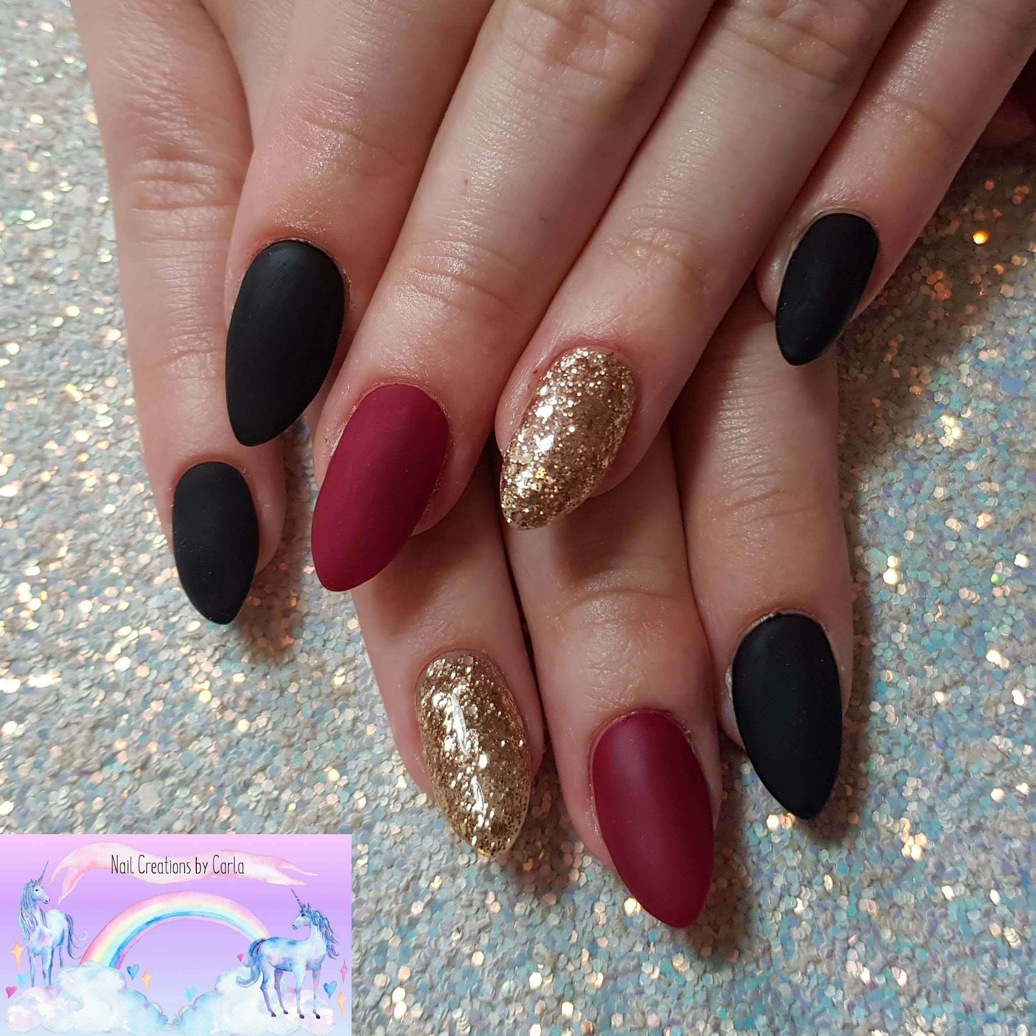 Matte Black And Red With Gold Nails Black Gold Nails Red And Gold Nails Gold Nails