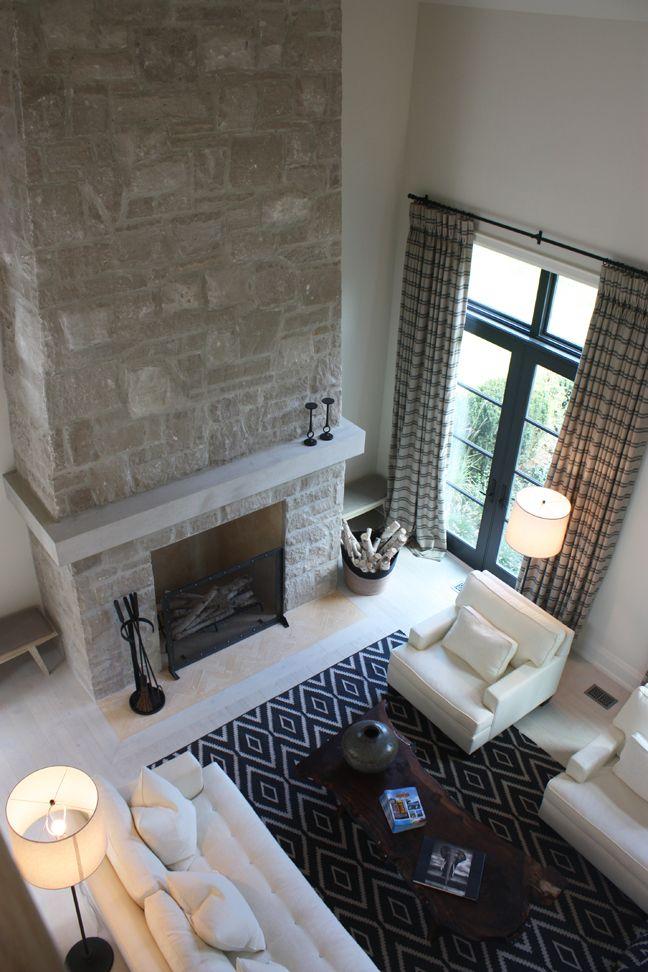 Fireplace Option Beautiful Mantel Shelf Detail Wrapped Around To Back Wall Modern Stone