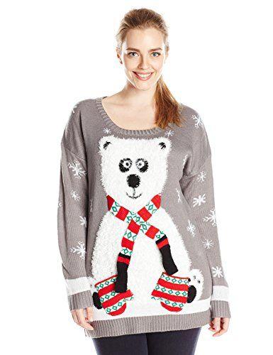 8d83e24b88f Derek Heart Junior s Plus-Size Panda Bear Pull Over Tunic Ugly Christmas  Sweater http