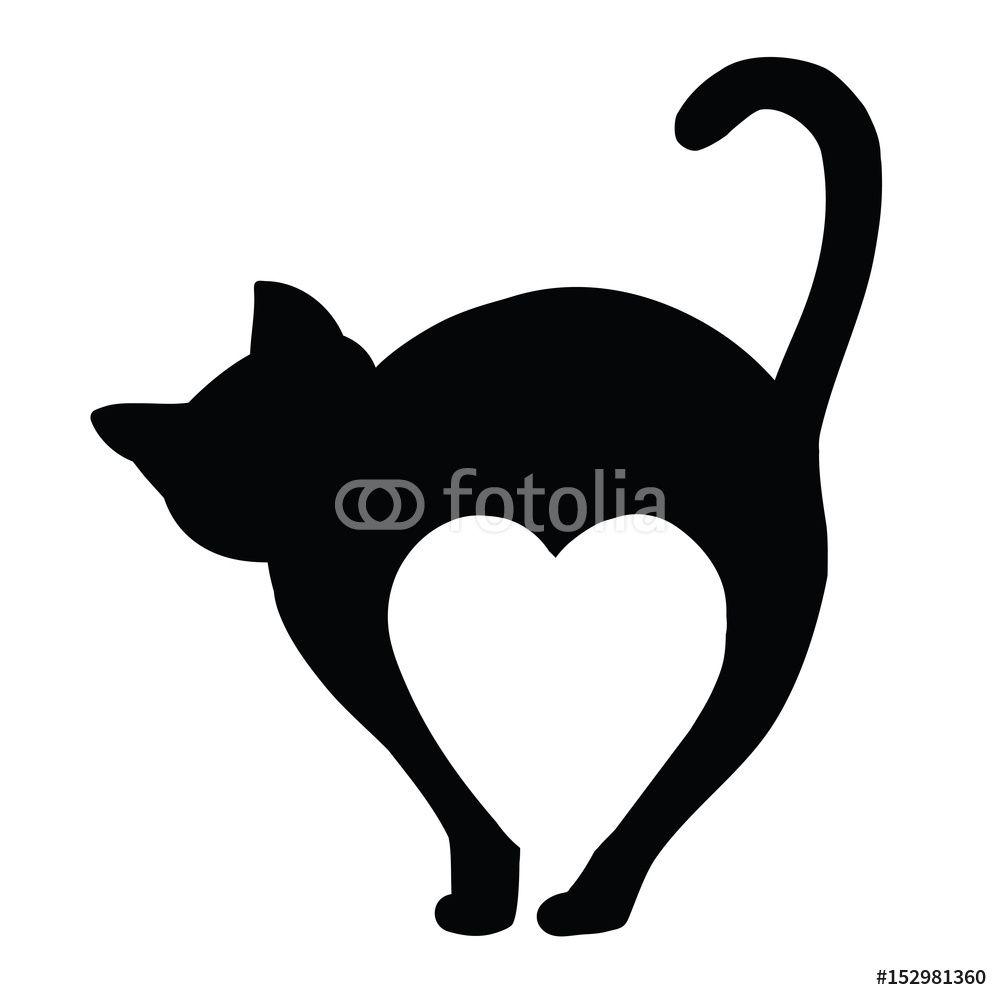 Naklejki Na Sciane Basic Rgb 152981360 Naklejka Naklejki Dekoracja Sciana Milosc Love Serce Kot Symbols Art Silhouette