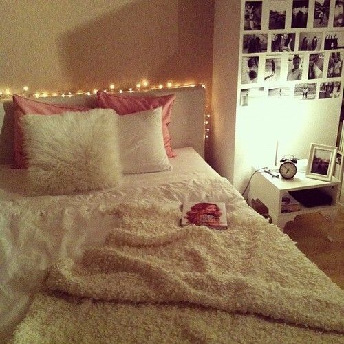 traditional white bed and fluffy pillows in cool teen bedrooms | pink and white dorm decor....love the fluffy faux fur ...