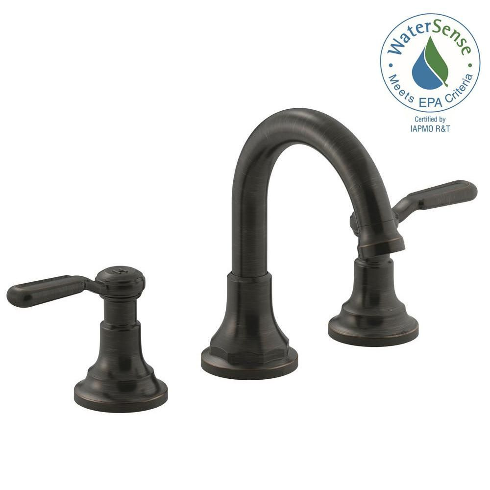Oil Rubbed Bronze Bathroom Basin Sink Faucet Dual Handles Mixer Tap Wall  Mount