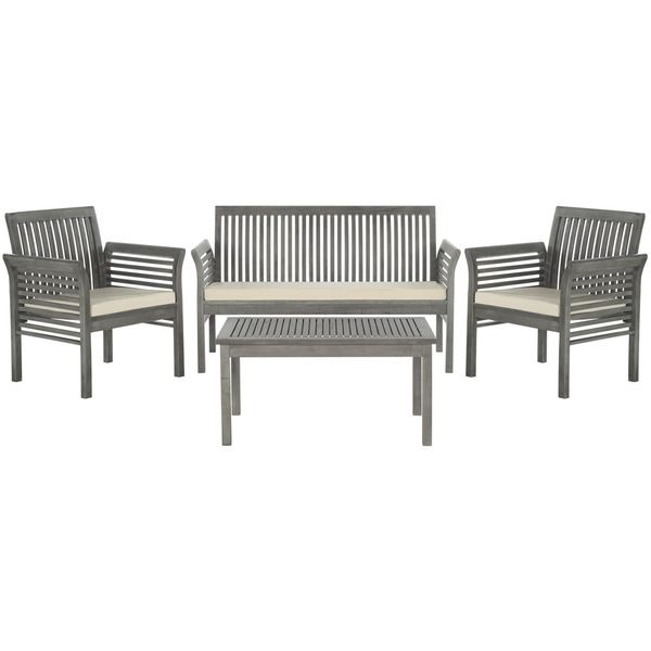 Safavieh Carson Grey Wash Acacia Wood 4 Piece Outdoor Furniture Set $507  And We Can