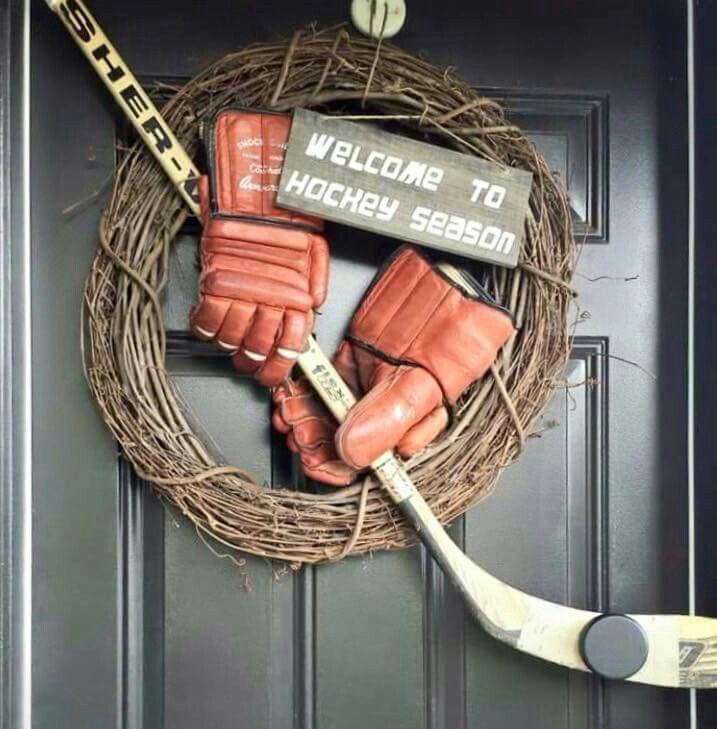 Welcome To Hockey Door Wreath Decor