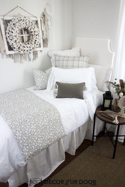 Farmhouse Cotton Print Dorm Bedding Set Bedroom Furnishings Dorm Bedding Sets Farmhouse Bedding Sets