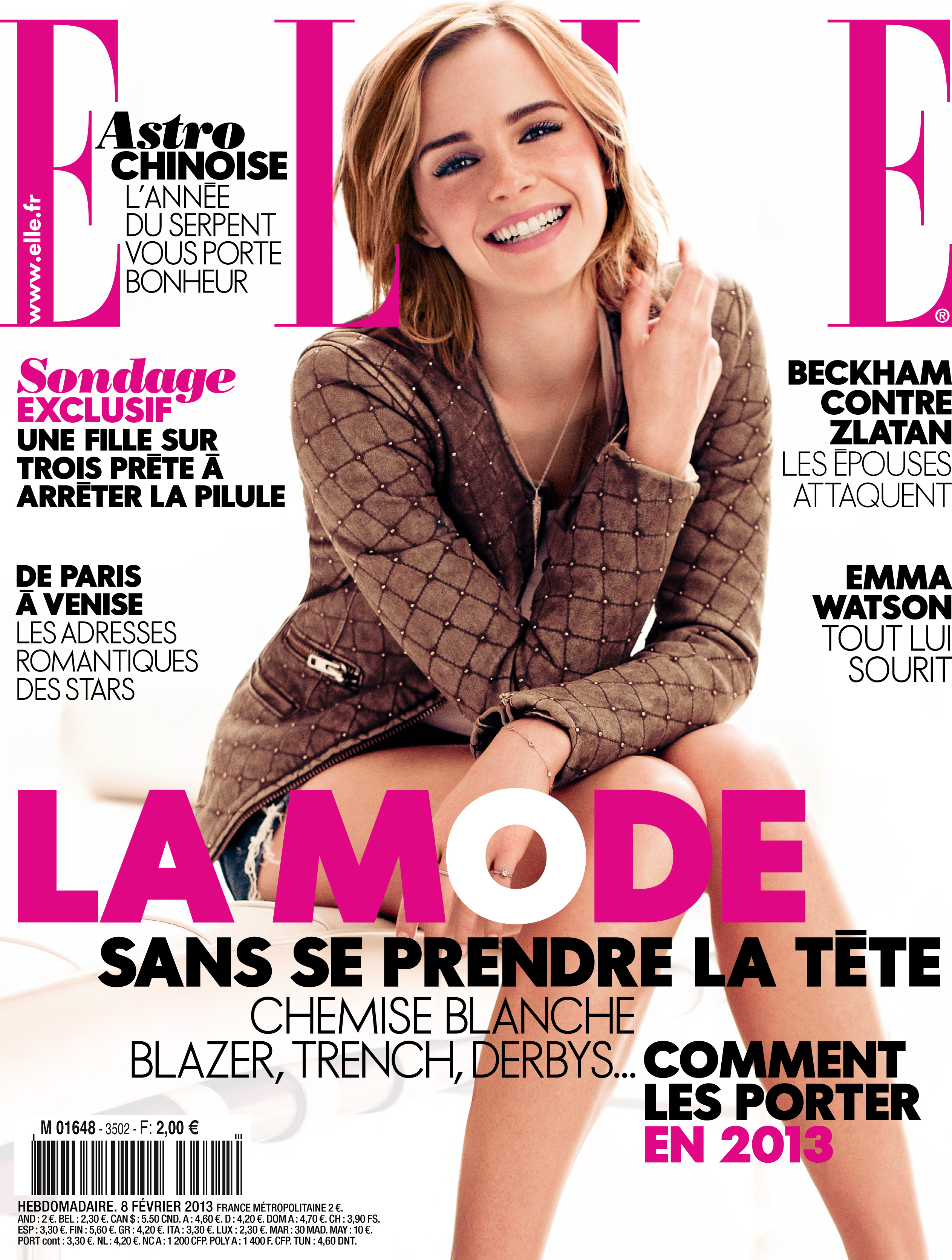 elle n 3502 emma watson feb13 elle france pinterest couvertures et mode. Black Bedroom Furniture Sets. Home Design Ideas