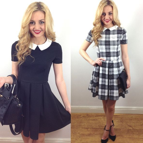 LADIES WOMENS BLACK WHITE TARTAN SKATER DRESS WITH WHITE COLLAR NEW
