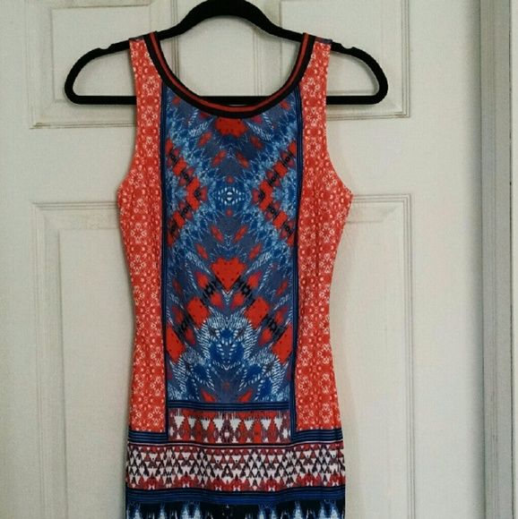 Forever 21 Tribal Bodycon Dress Size S NWT - Stylish tribal-print sleeveless dress.  Very form-fitting.  Features a zipper on rear of dress.  Mid-thigh to knee length - depends on your height.  Great colors of cream, orange and blue. Size Small. Forever 21 Dresses Mini