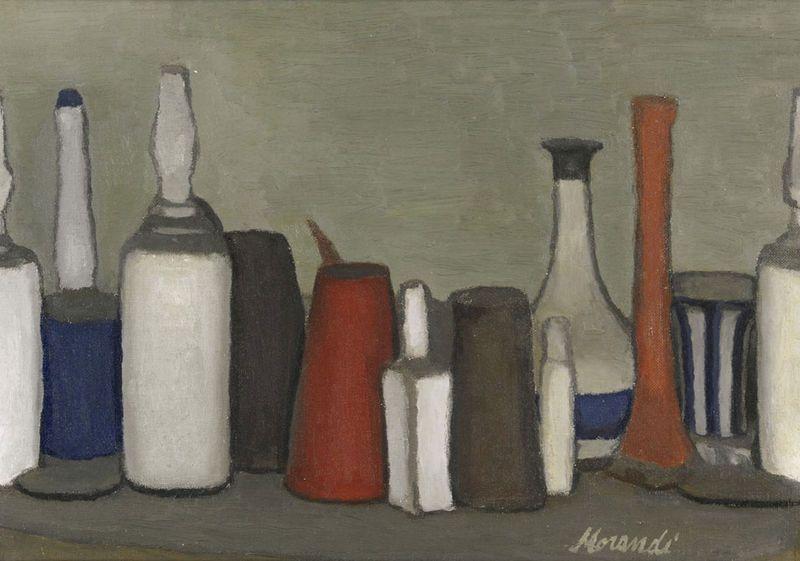 Giorgio Morandi (1890 - 1964) | Natura Morta, 1952, signed Morandi (lower left), oil on canvas, photo Sotheby's. Provenance: José Luis & Beatriz Plaza, Caracas (acquired from the artist. Sold: Sotheby's, London.