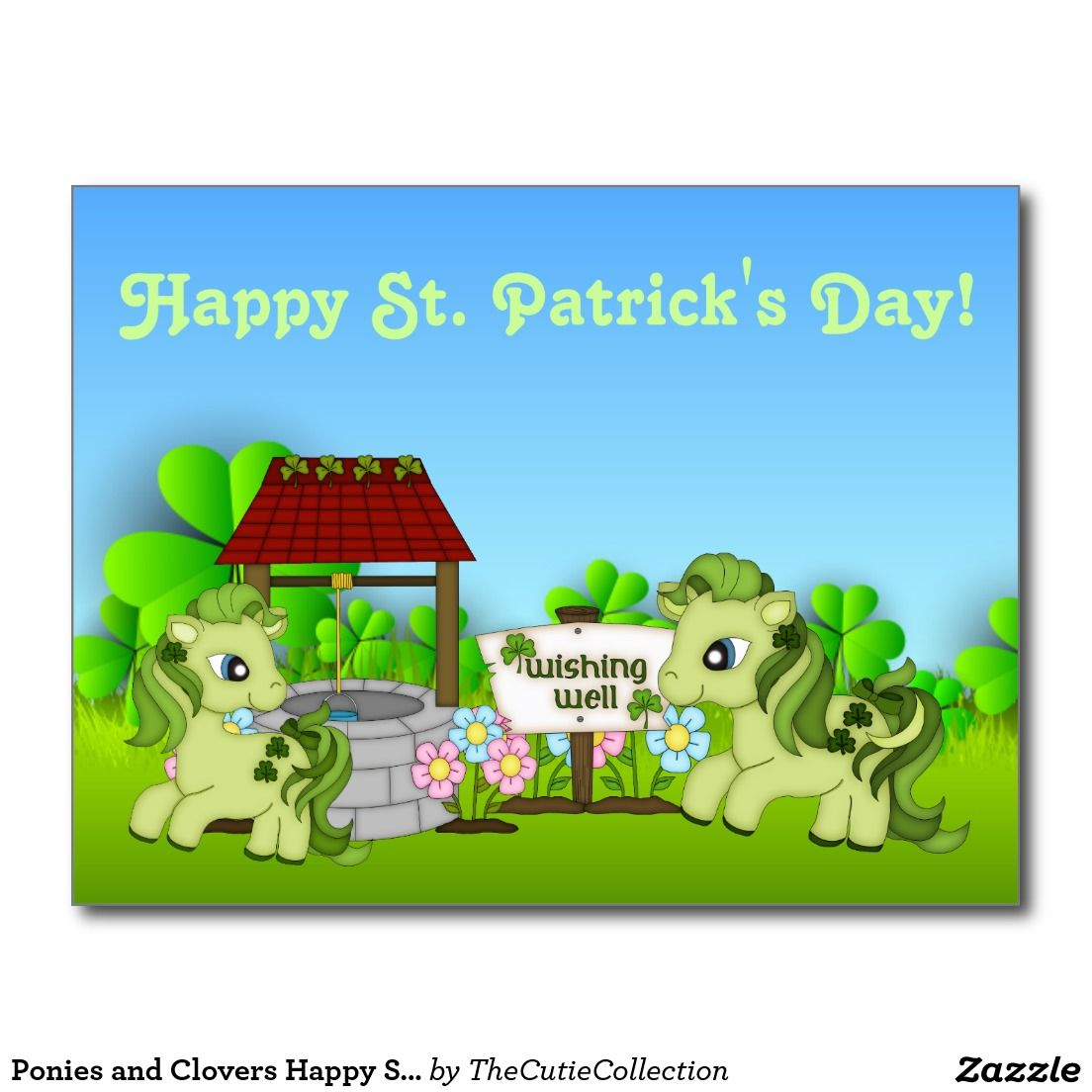 Ponies and Clovers Happy St. Patrick's Day Horse Postcard