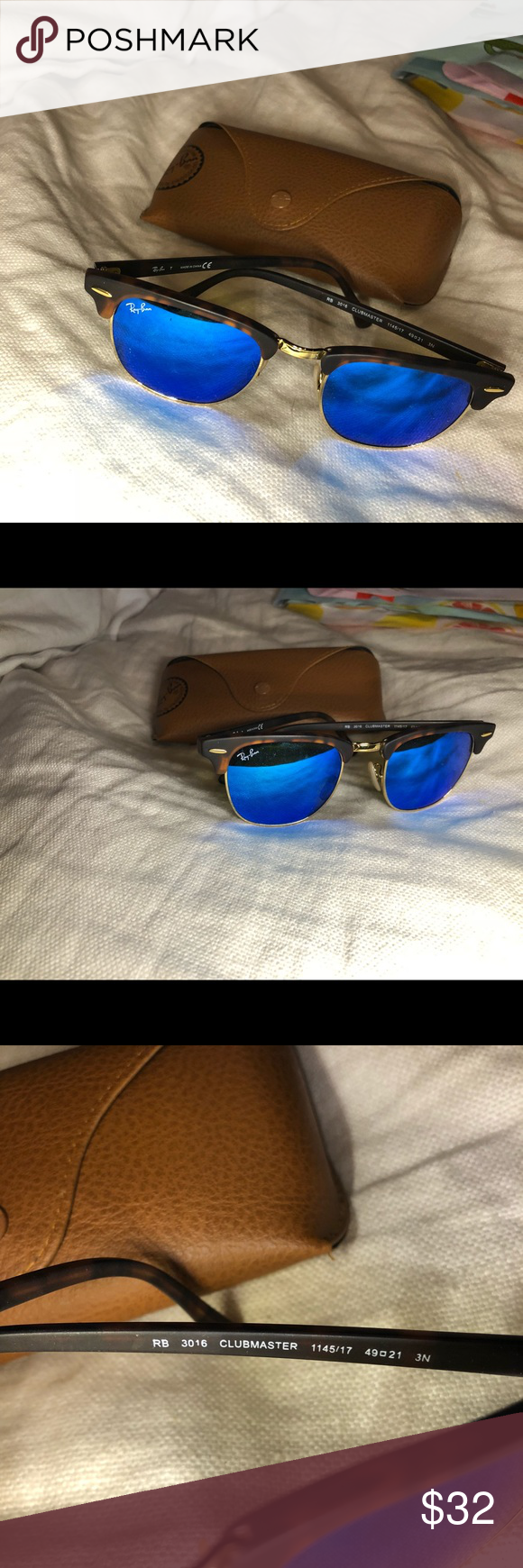 68355cd6c8 Ray-Ban Clubmaster Tortoise Matte Blue Mirror Sunglasses Ray-Ban Clubmaster  Tortoise Matte Flash Lenses RB3016 1145 17 49-21 Small Mirror great  condition ...