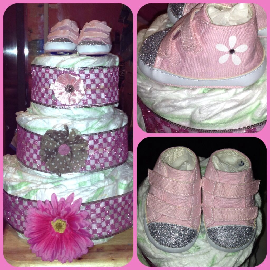 Baby girl diaper cake with blinged shoes and hair flowers ...