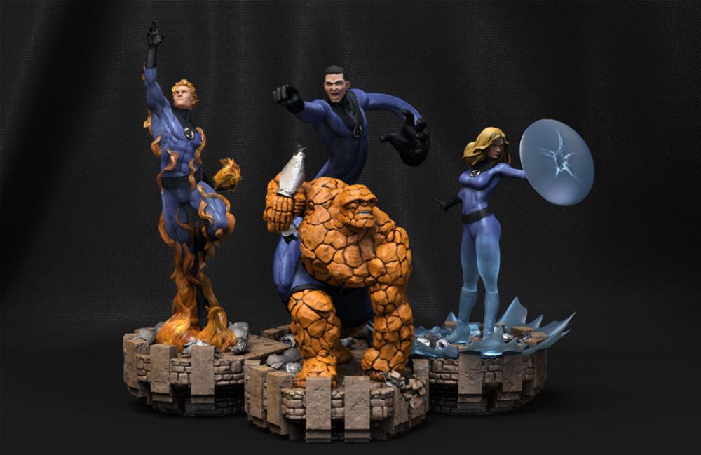 Fantastic Four 1 4 Scale Figures 3d Scene Barruz Studio Fantastic Four Scene Figures