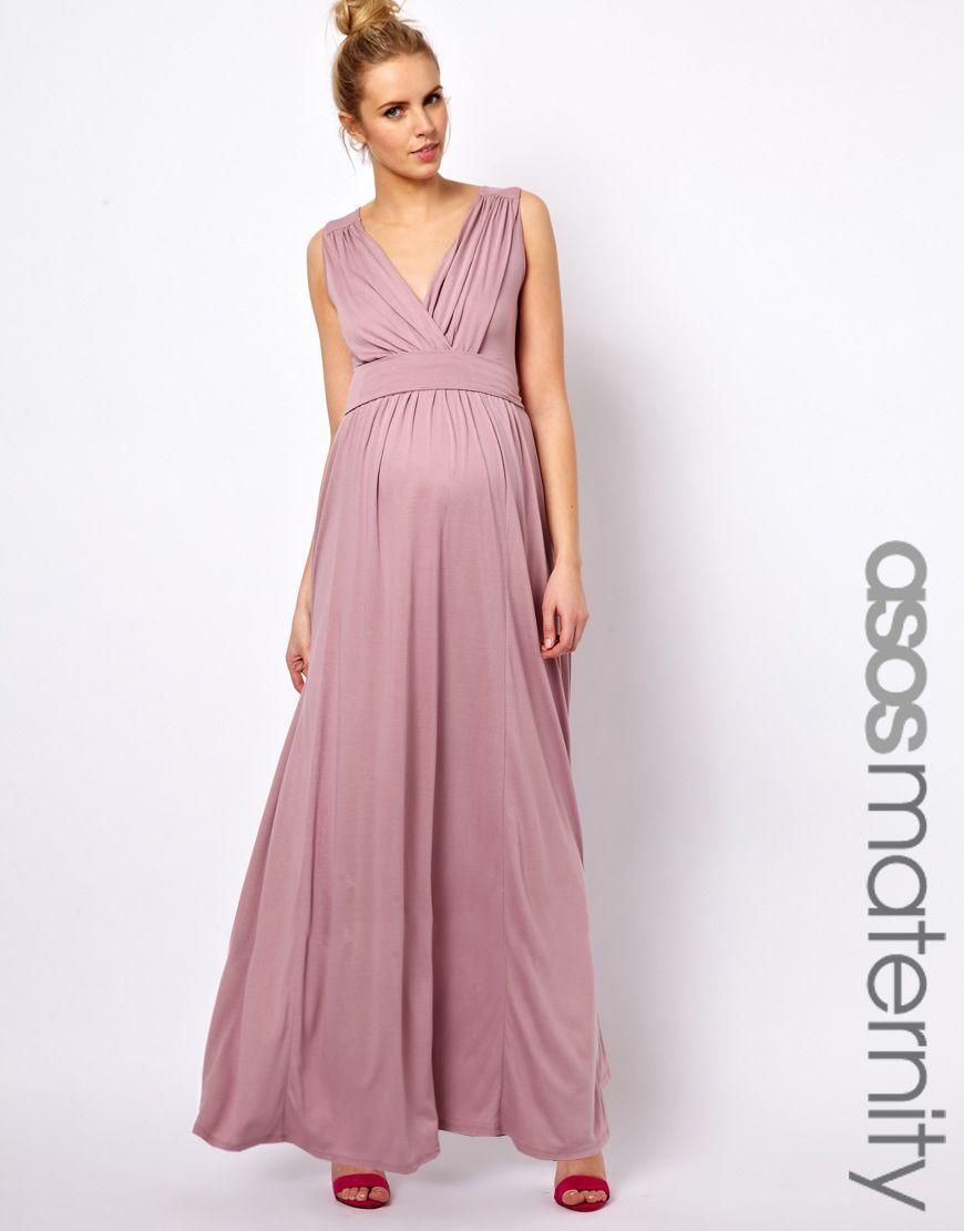 ASOS Maternity Exclusive Jersey Maxi Dress In Grecian Drape ...