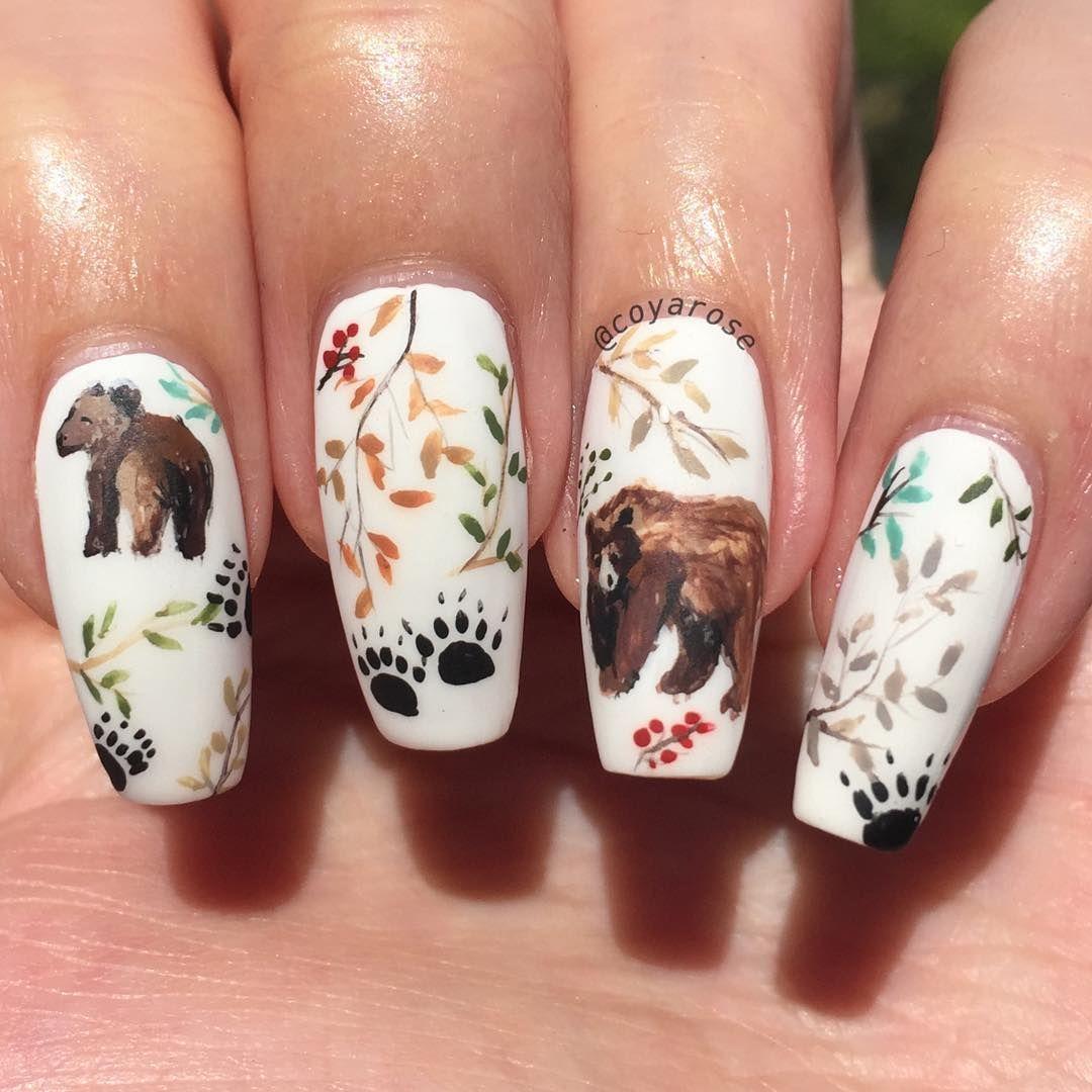 Fall Bear Forest Nails Nail Art Nail Art By Coyarose Pinterest