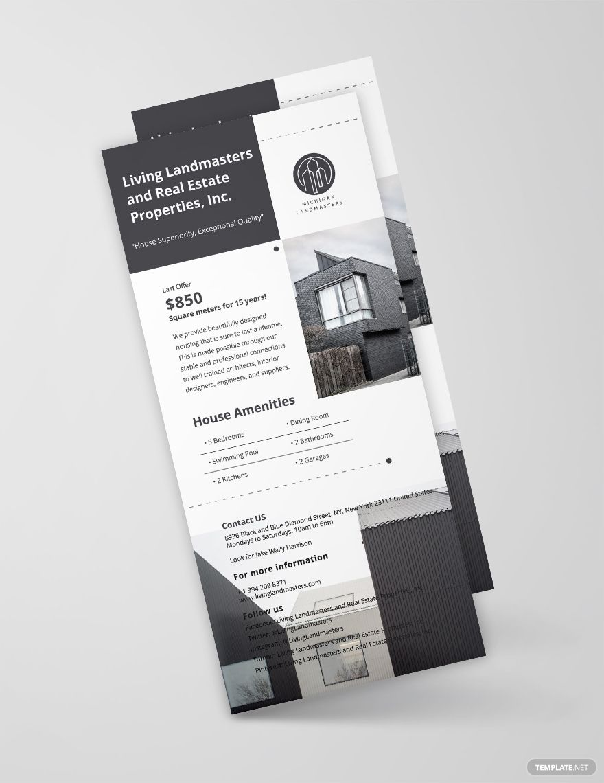 Free Simple Real Estate Rack Card Template Word Doc Psd Indesign Apple Mac Pages Illustrator Publisher Rack Card Templates Rack Card Card Template