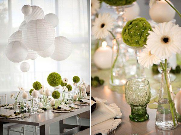 ... , Décoration de mariage vert et blanc et Bouquet mariage pivoine