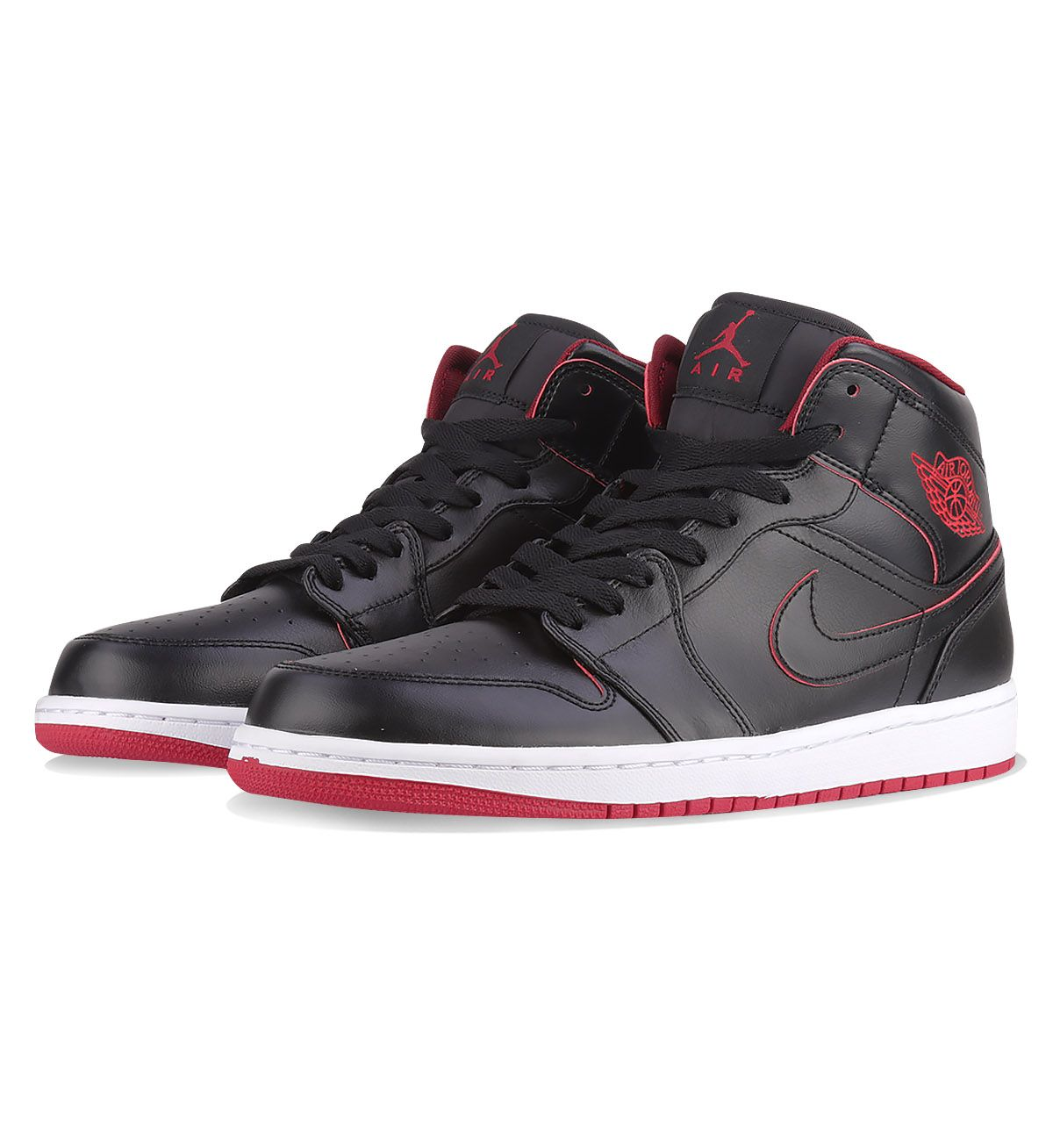 purchase cheap 8b4aa 90166 Nike Air Jordan 1 Mid Black   White   Gym Red - Nike Air Jordan The Nike Air  Jordan 1 Mid Black has a combination full-grain leather and smooth Nubuck  upper ...