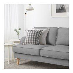 Ikea Stocksund 2er Sofa Remvallen Blau Weiss Hellbraun