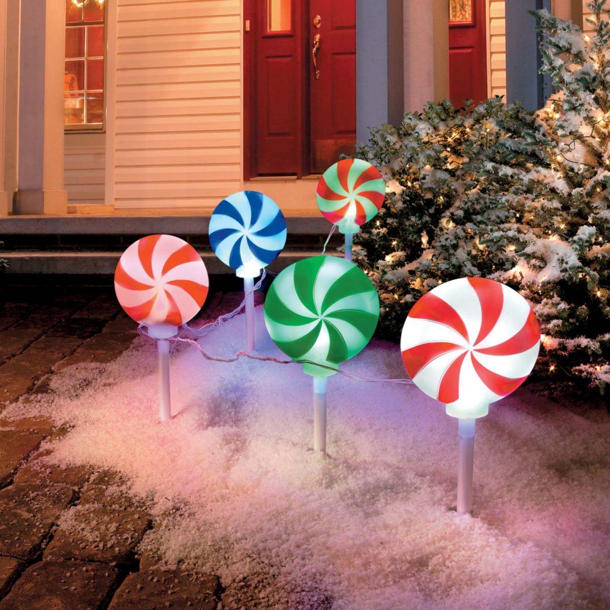Peppermint Christmas Pathway Lights | xmas village | Pinterest ...