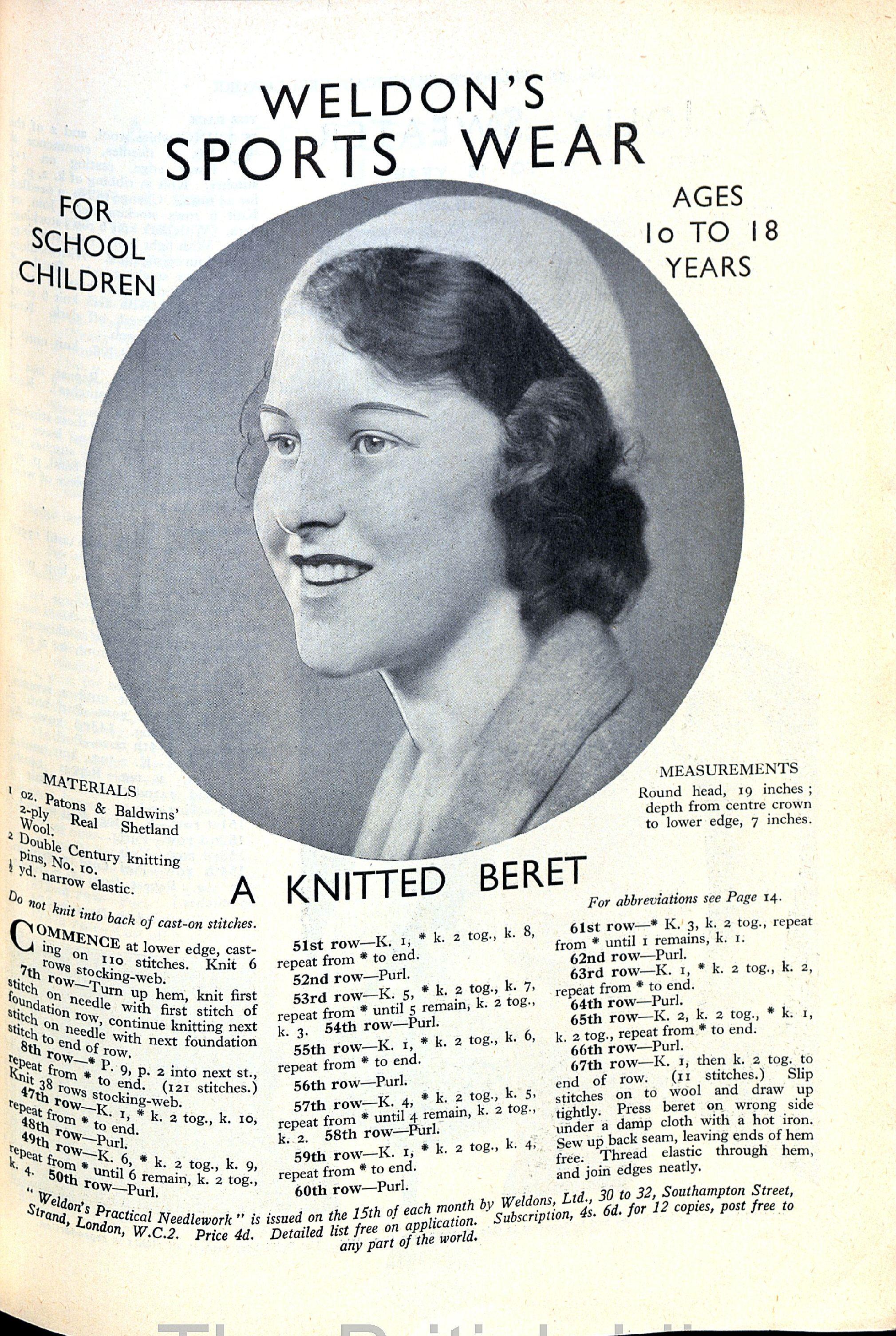 1929 Weldon\'s sports wear : Knitted beret | Vintage Knit | Pinterest ...