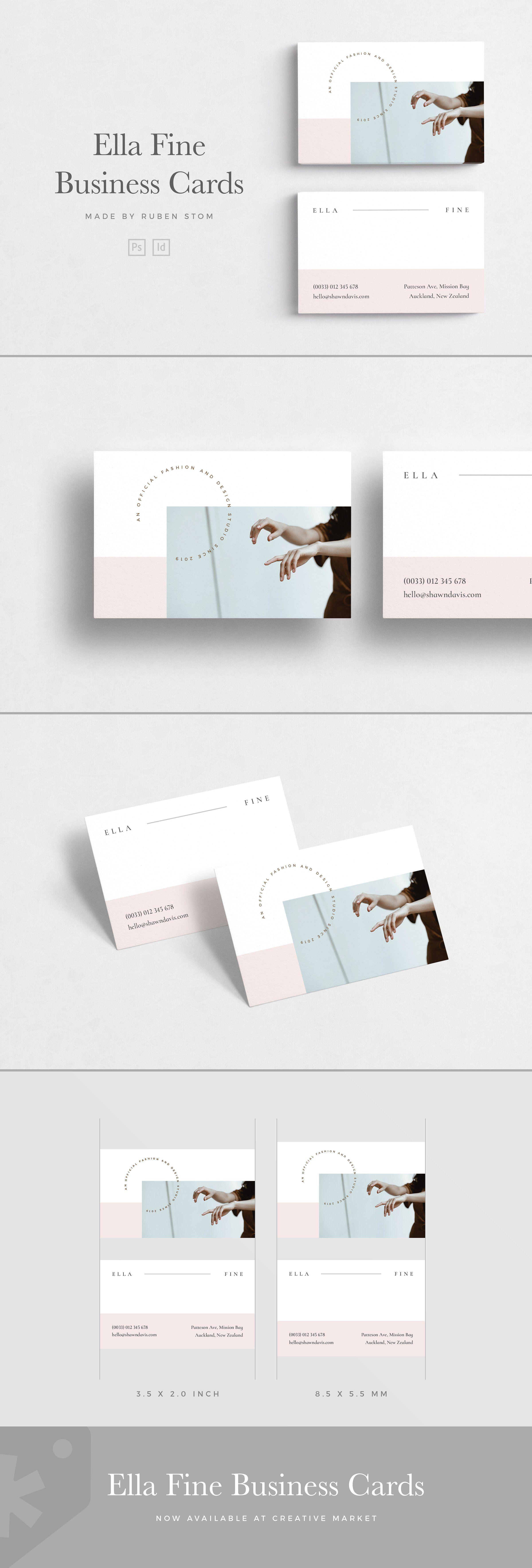 Ella Fine Business Card Elegant Business Cards Business Card Template Indesign Templates