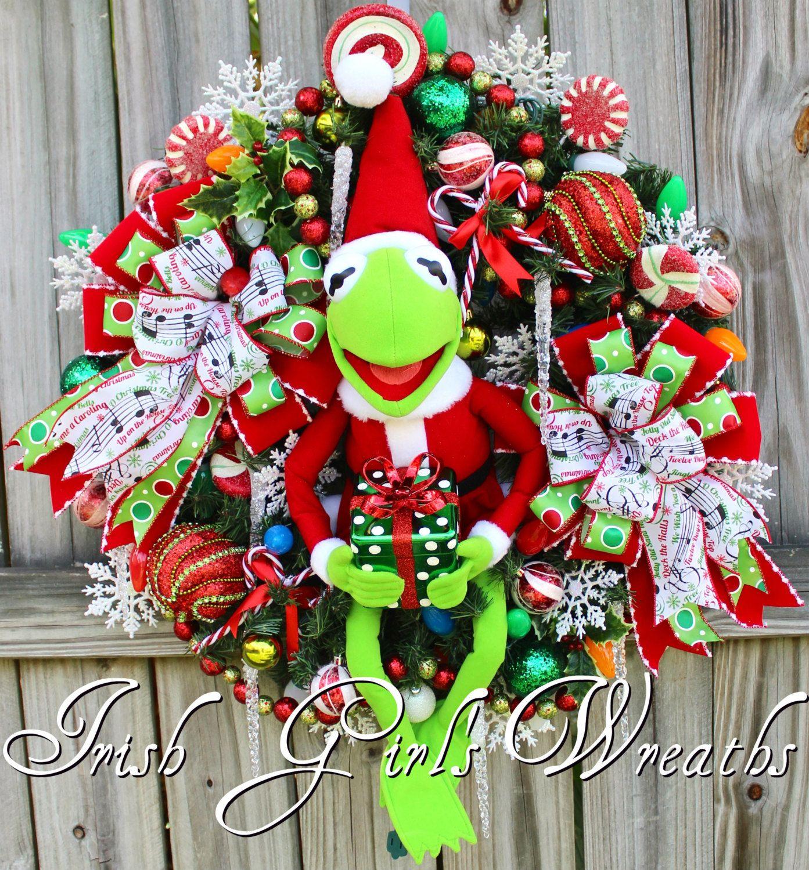 Santa Kermit the Frog Pre-lit Christmas Wreath, Muppets Merry ...