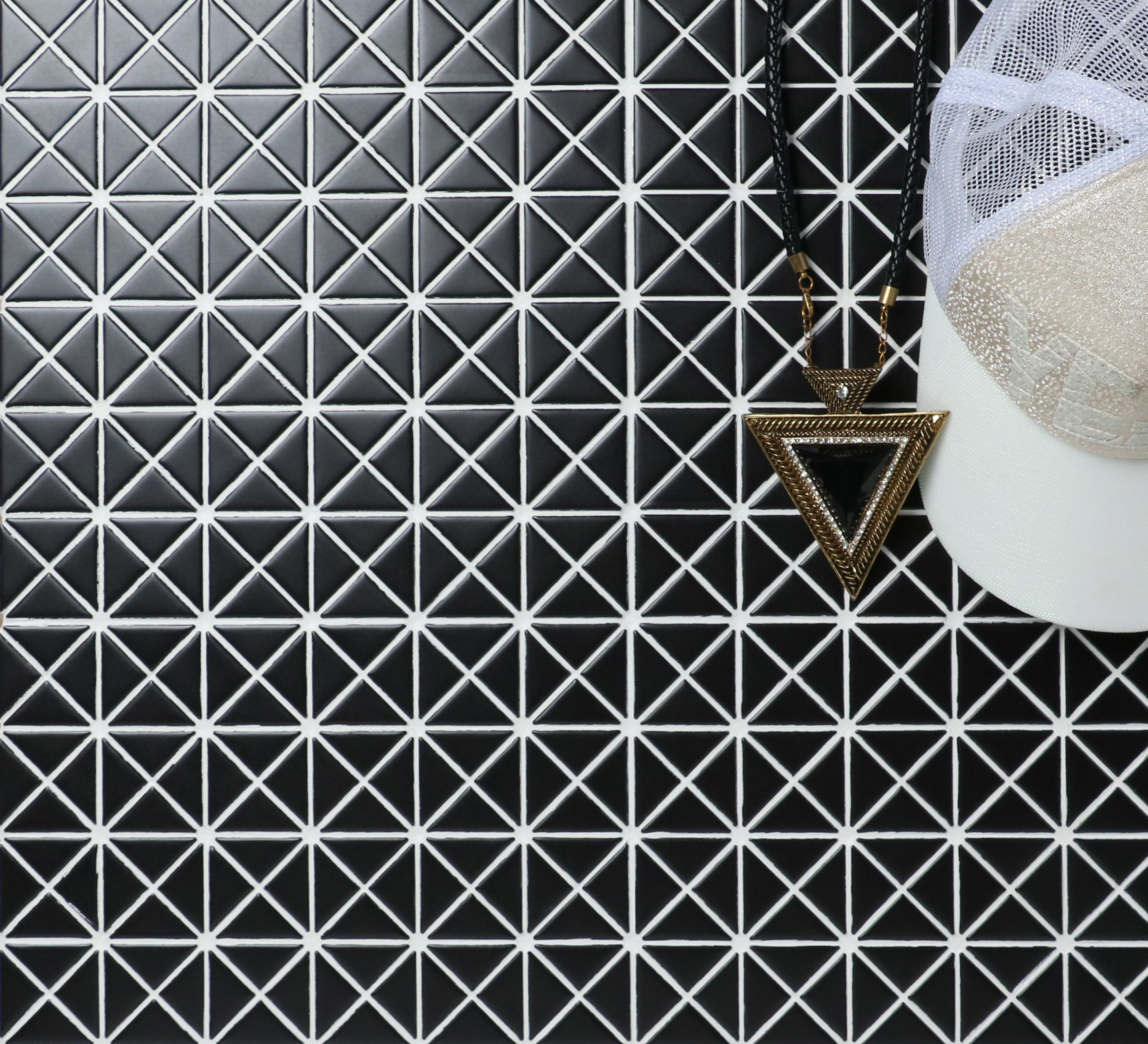 1 Inch Matte Finish Triangle Mosaic Tiles Excellent For Design Interior Unique Home Style Porcelain Mosaic Tile Porcelain Mosaic Mosaic Tiles