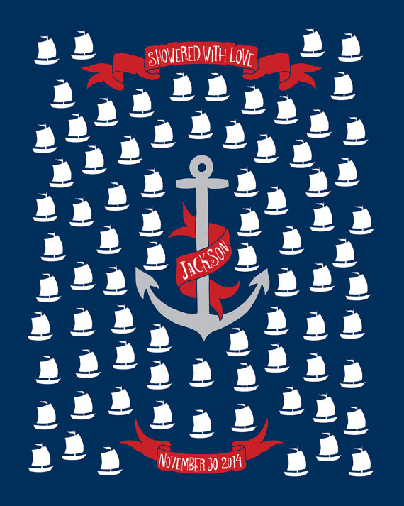 Nautical baby shower guestbook posterred navy baby shower gift nautical baby shower guestbook posterred navy baby shower giftsailor guest bookboat and anchorpersonalized baby shower sig negle Gallery