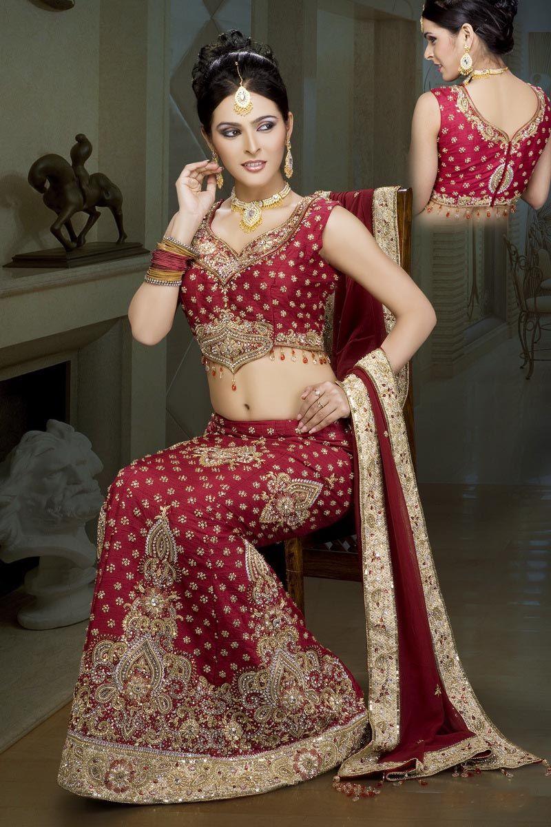 Raw silk wedding dress  Indian Red Raw Silk with Net Dupatta Wedding Lehenga IBRSLK