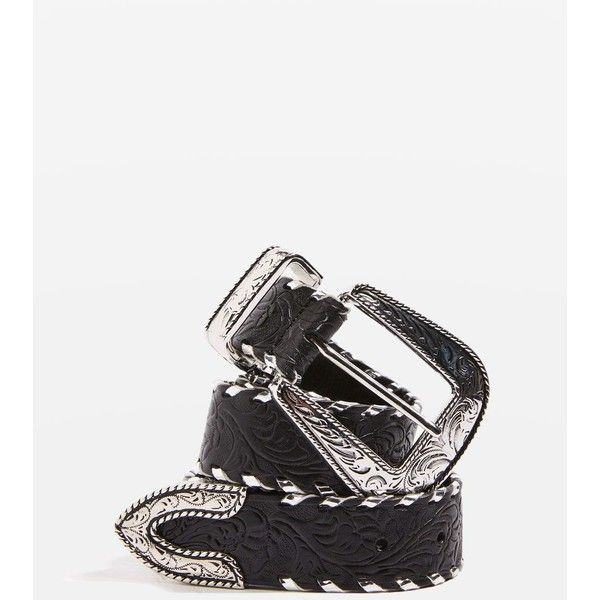Topshop Patterned Leather Whipstitch Belt (1,515 THB