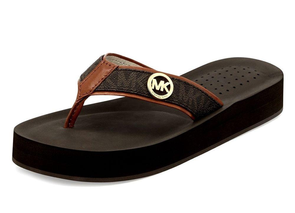 62f26c4ff New Michael Kors Gage Mini Logo Flip Flops Brown Size 7M   MichaelKors   FlipFlops