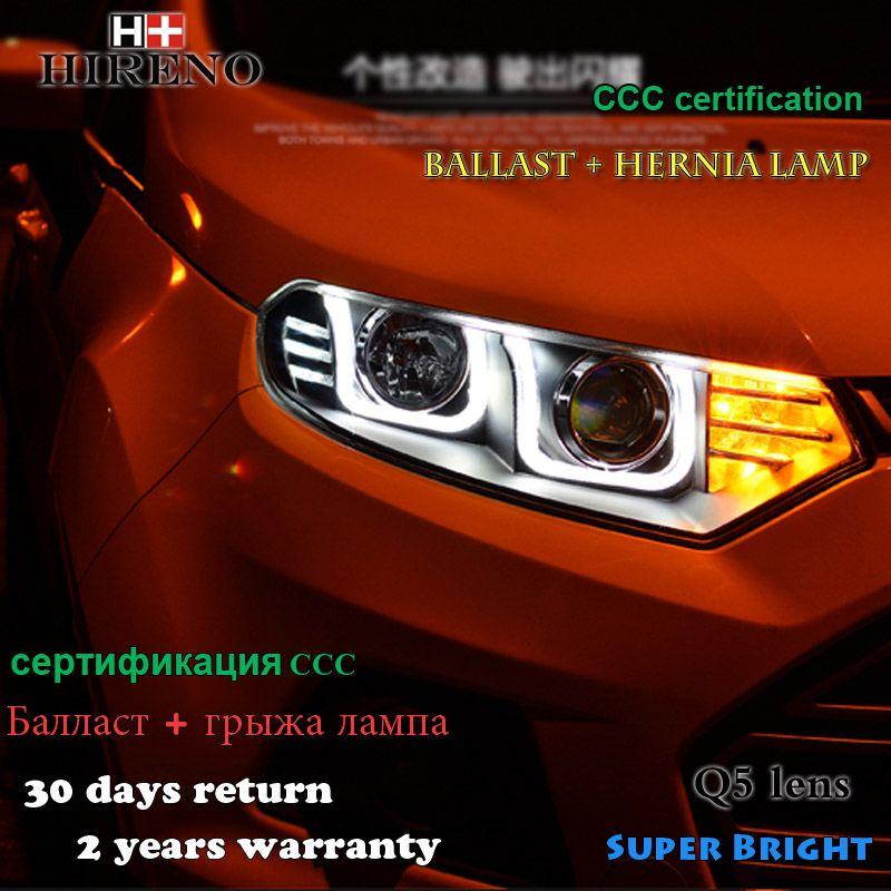 Hireno Headlamp For 2012 2014 Ford Ecosport Headlight Assembly Led