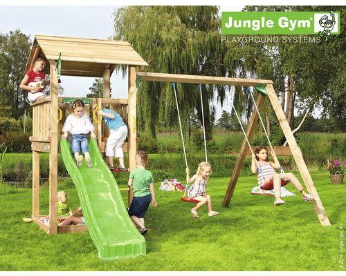 Spielturm Jungle Gym Casa & Swing Holz mit Sandkasten