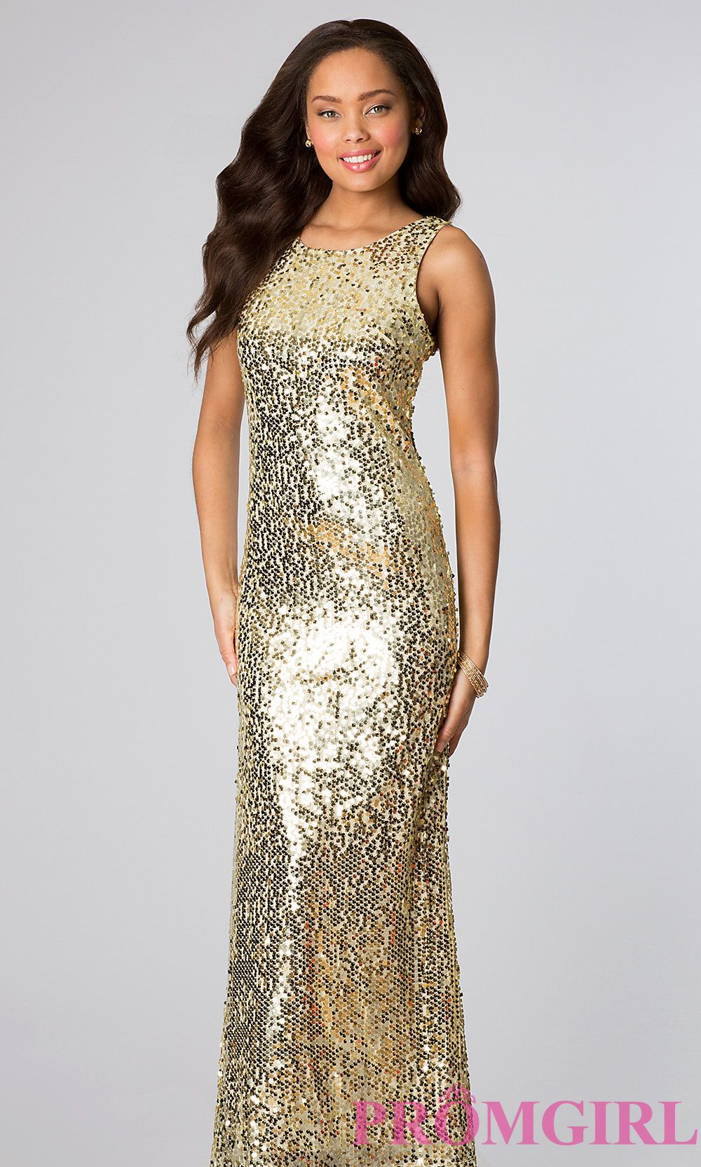 Long Sleeveless Sequin Dress, Sequin Prom Gown- PromGirl ...