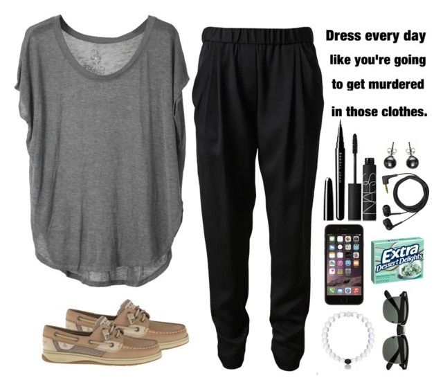 """""""Blah Day"""" by theyoungestvolcano ❤ liked on Polyvore featuring Chaser, 3.1 Phillip Lim, NARS Cosmetics, Marc Jacobs, Sennheiser and Sperry Top-Sider"""