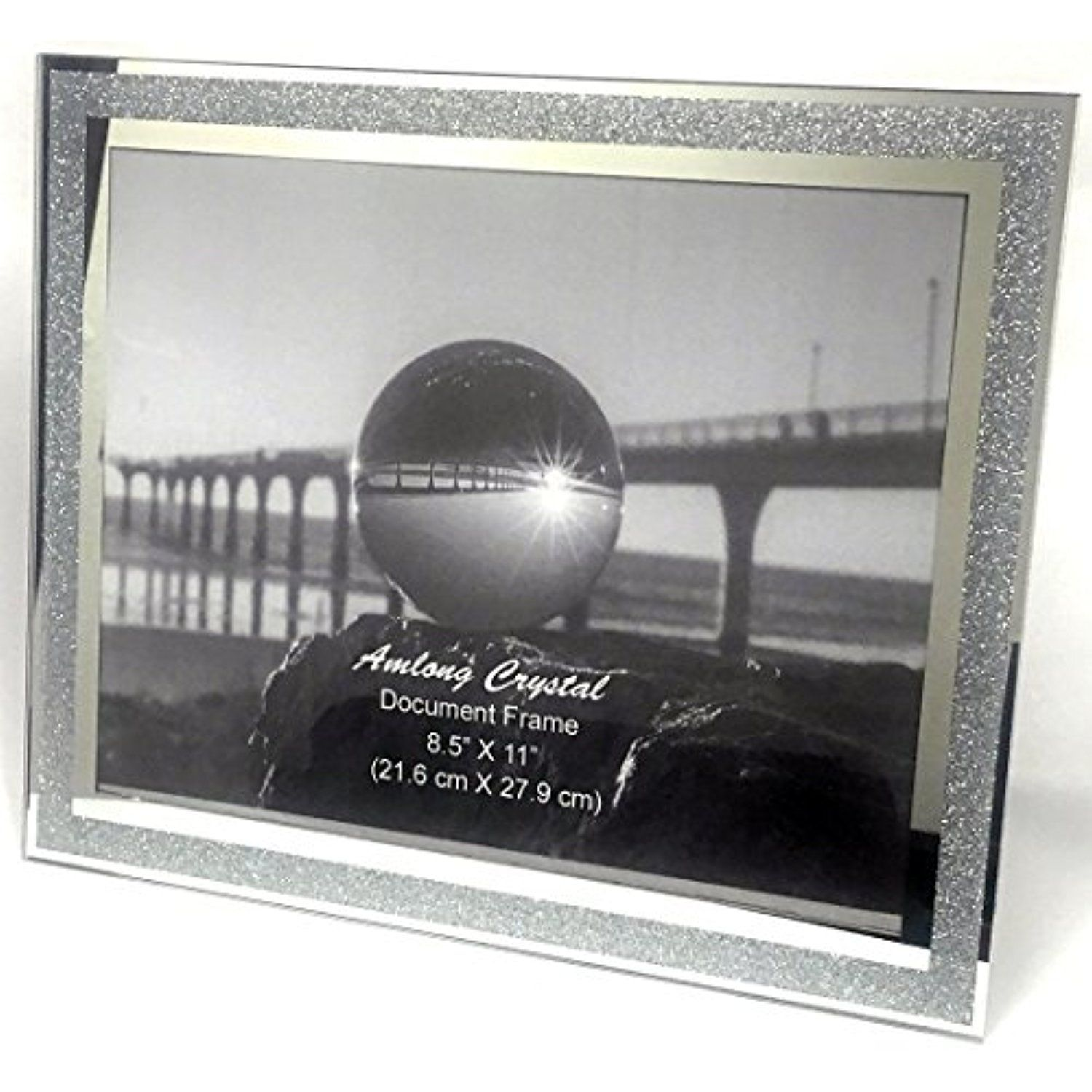 Amlong Crystal Sparkle Mirror Document Frame 8.5 x 11 Inch ...