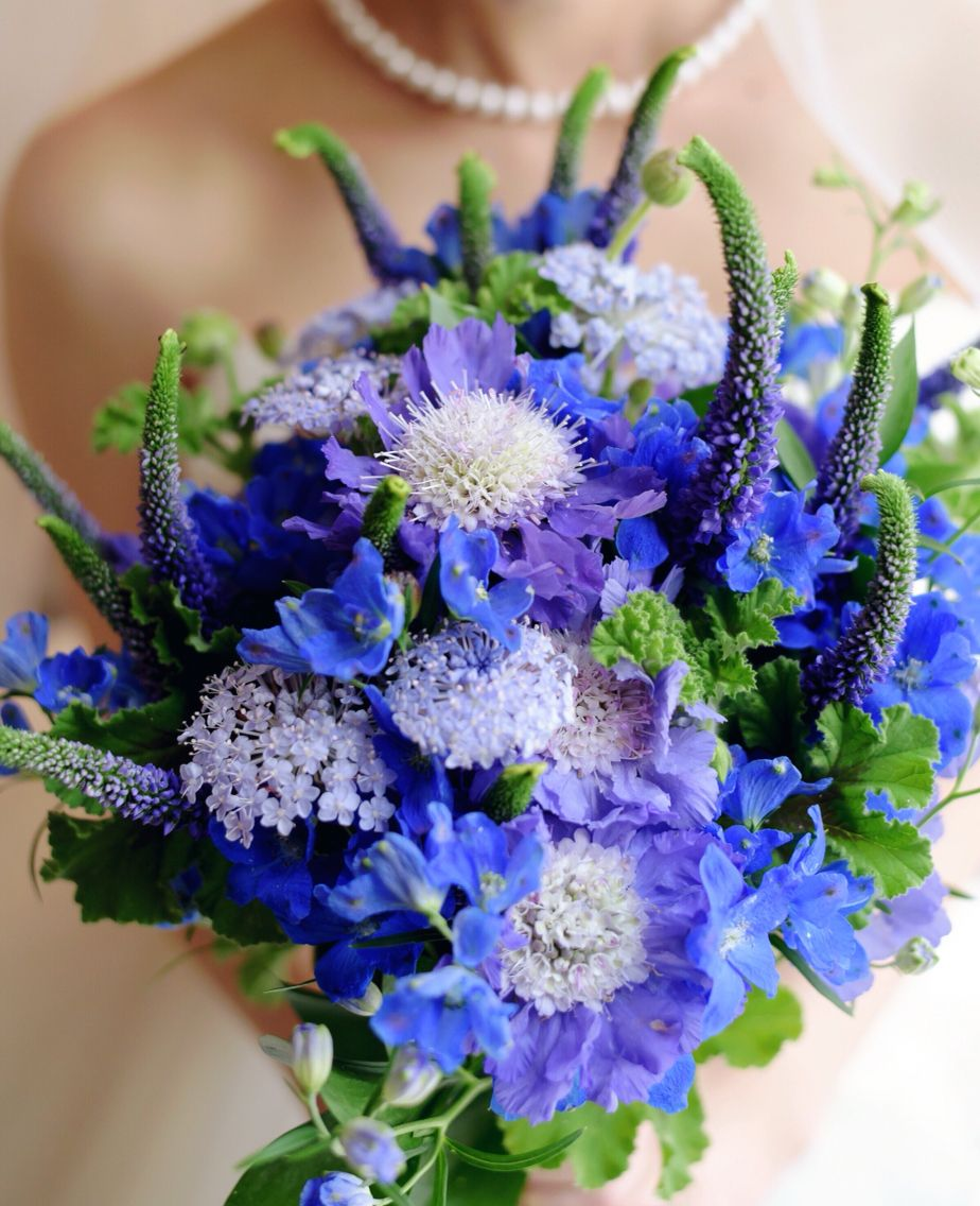 Blue Green Purple bouquet